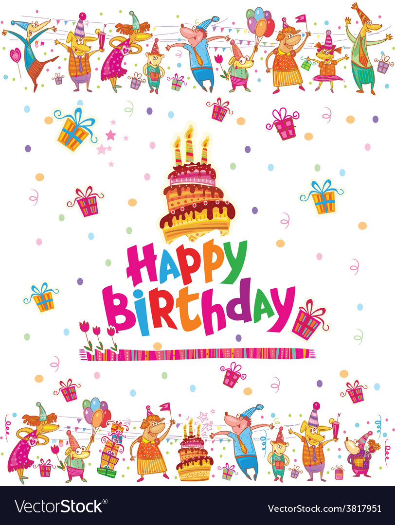 Birthday card design with cake vector | Price: 1 Credit (USD $1)