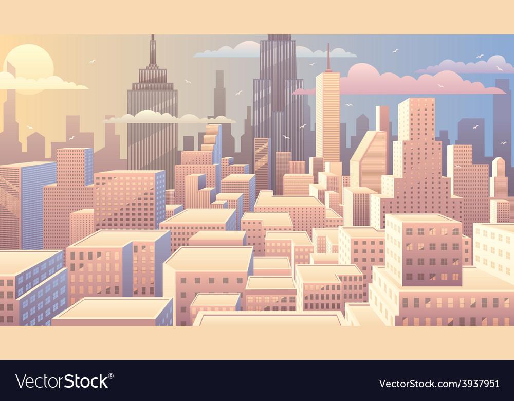 Cityscape sunrise vector | Price: 3 Credit (USD $3)