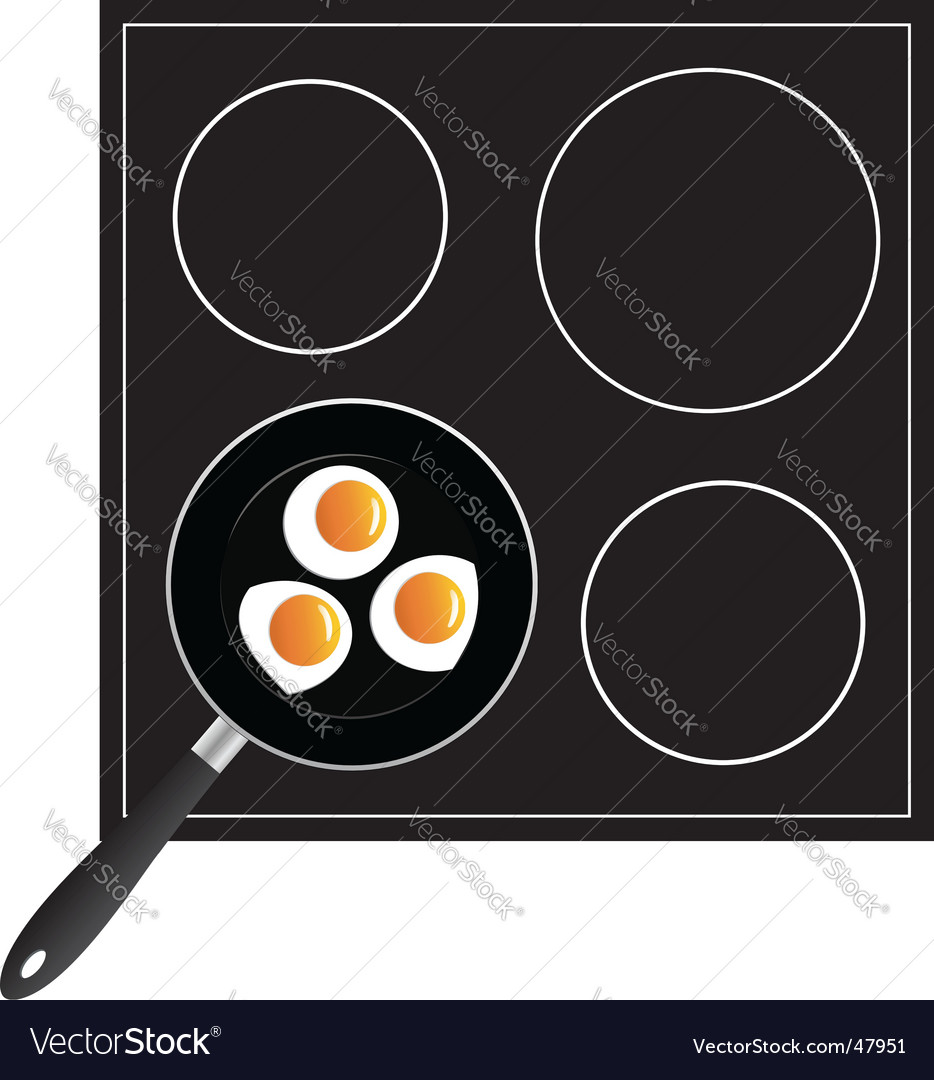 Cooking eggs on the pan vector | Price: 1 Credit (USD $1)