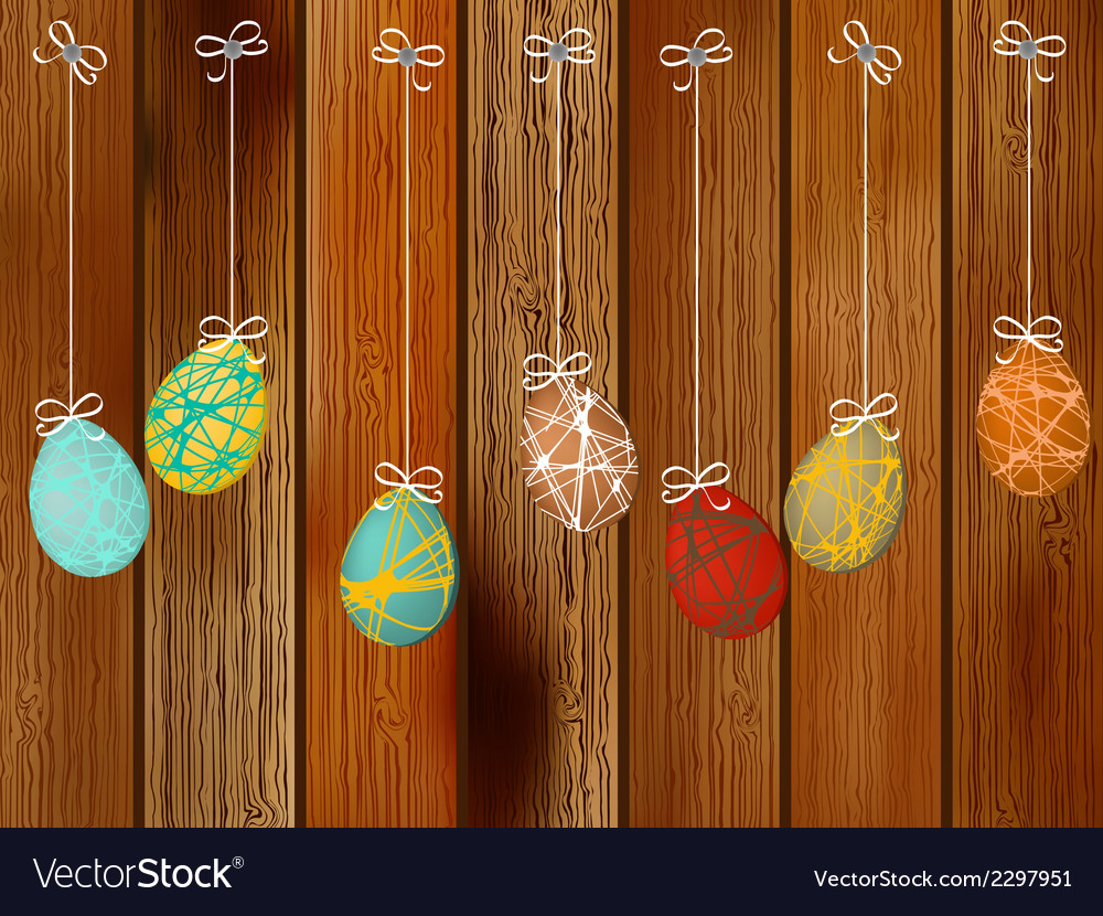 Easter eggs on a wooden wall  eps8 vector | Price: 1 Credit (USD $1)