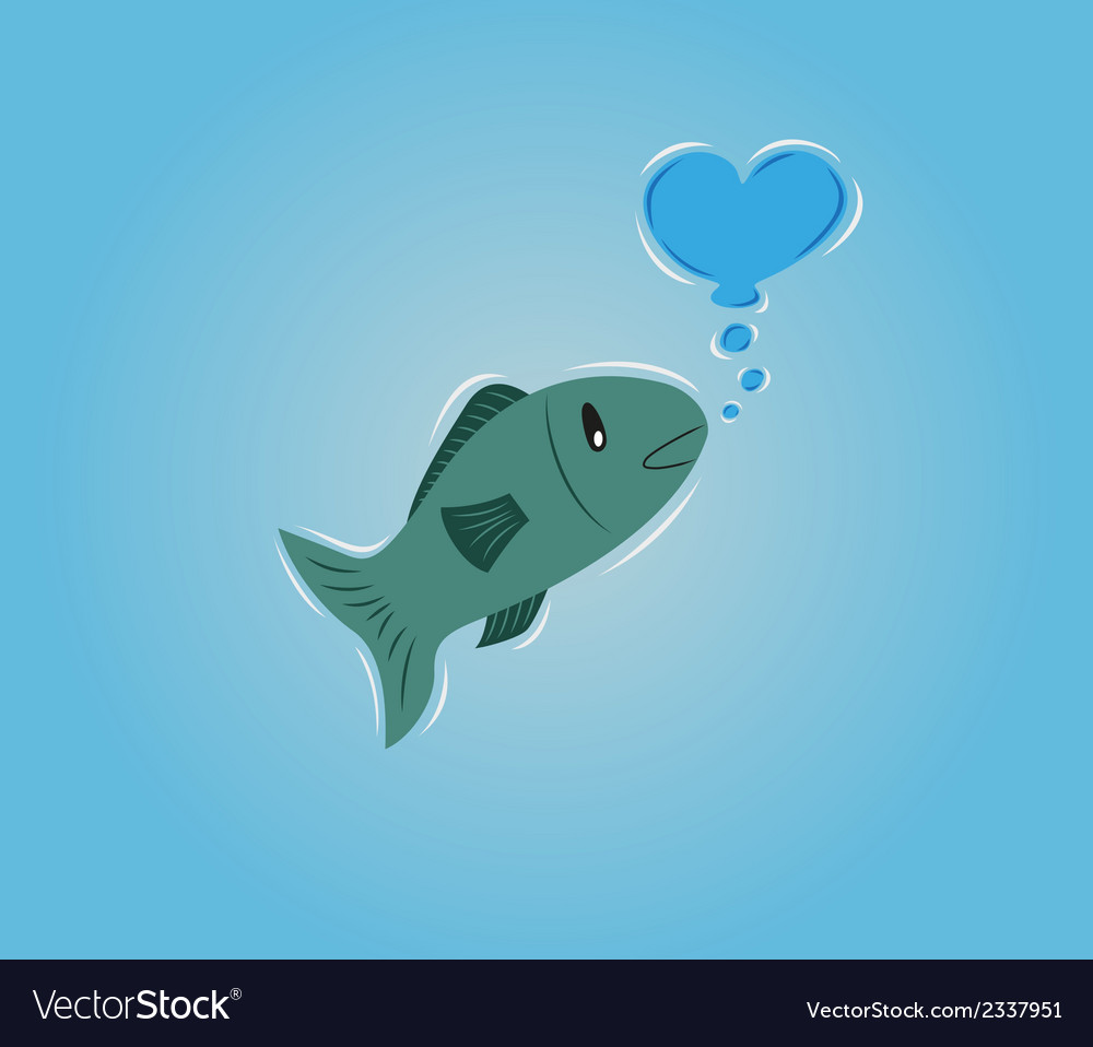 Fish with bubble heart vector | Price: 1 Credit (USD $1)