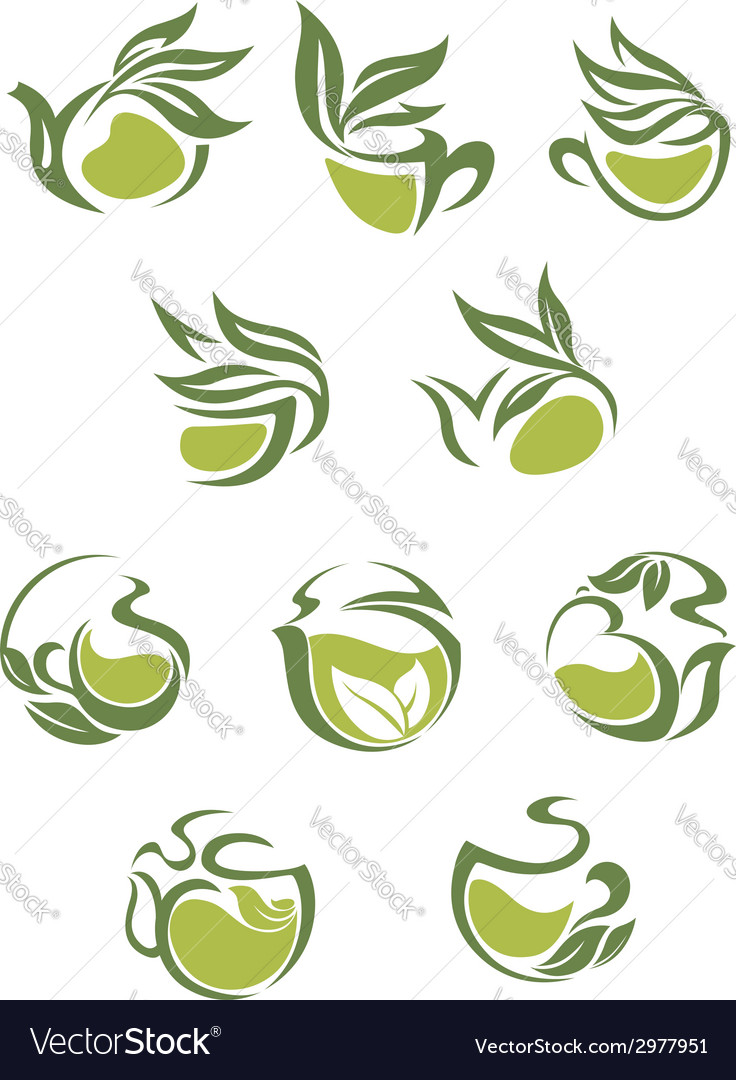 Green tea dish and cup icons set vector | Price: 1 Credit (USD $1)