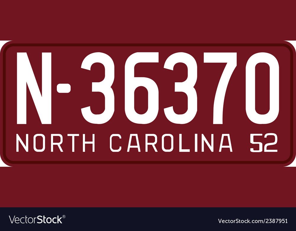 North carolina 1952 license plate vector | Price: 1 Credit (USD $1)