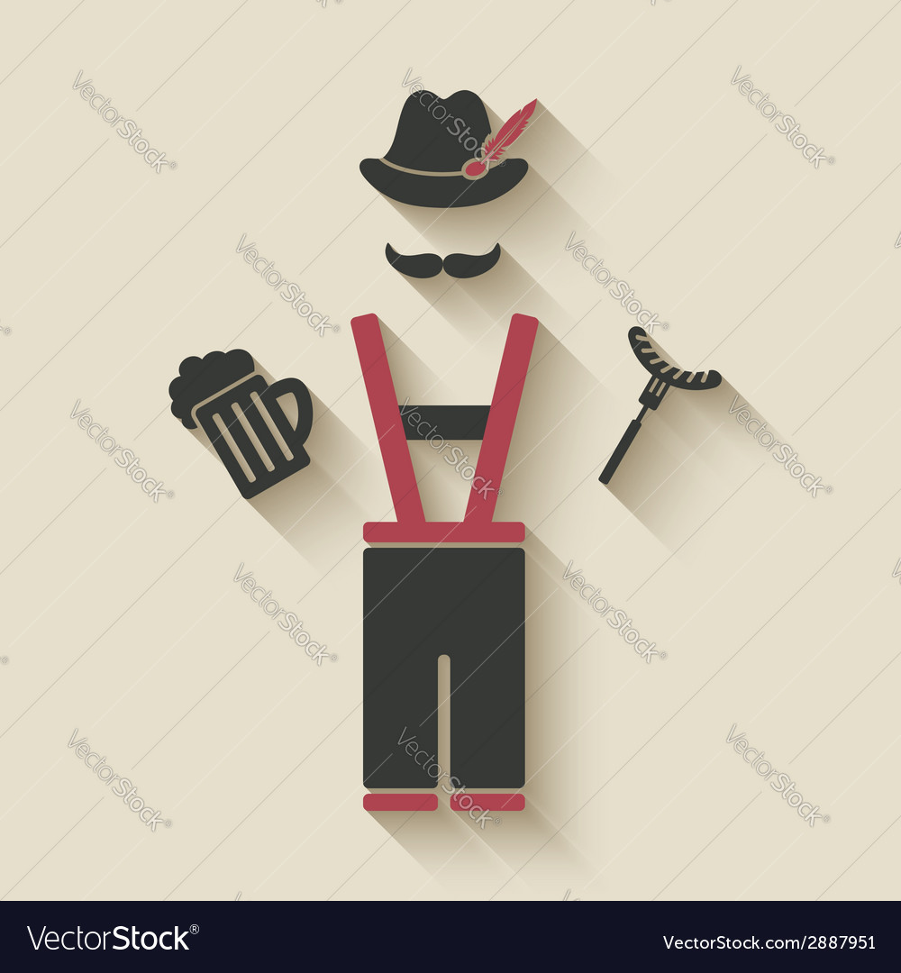Oktoberfest man with beer mug and sausage vector | Price: 1 Credit (USD $1)