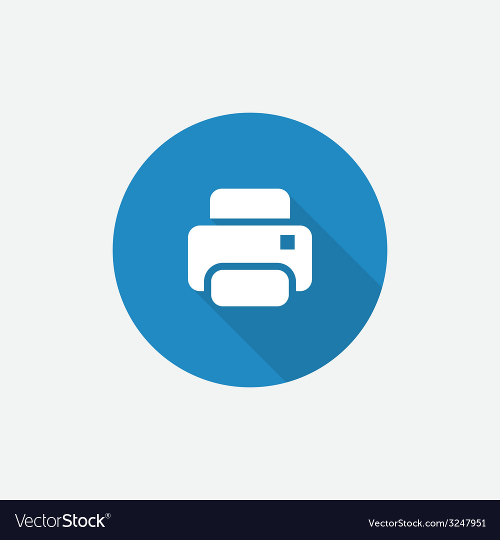 Printer flat blue simple icon with long shadow vector | Price: 1 Credit (USD $1)