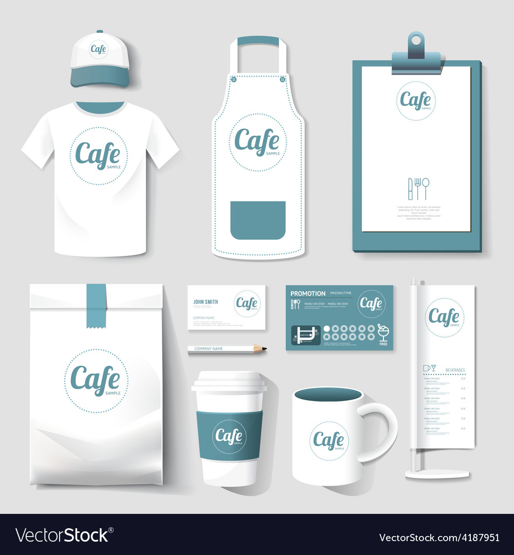 Restaurant cafe set flyer menu package t-shirt cap vector | Price: 1 Credit (USD $1)