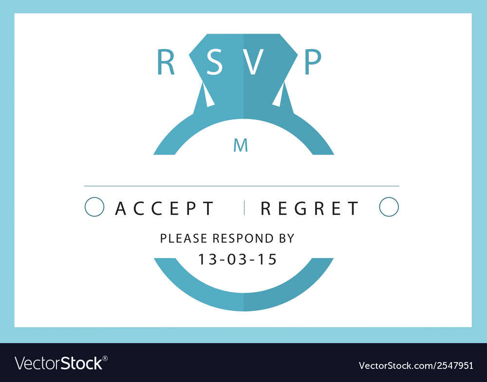 Rsvp wedding card blue ring theme vector | Price: 1 Credit (USD $1)