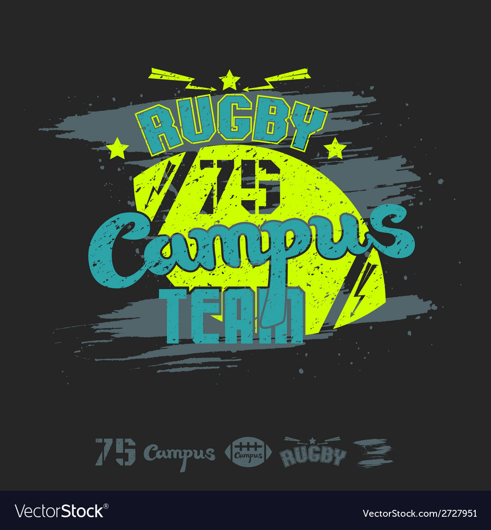 Rugby emblem campus team vector | Price: 1 Credit (USD $1)