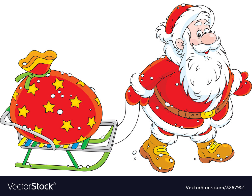 Santa with a gift bag vector | Price: 3 Credit (USD $3)