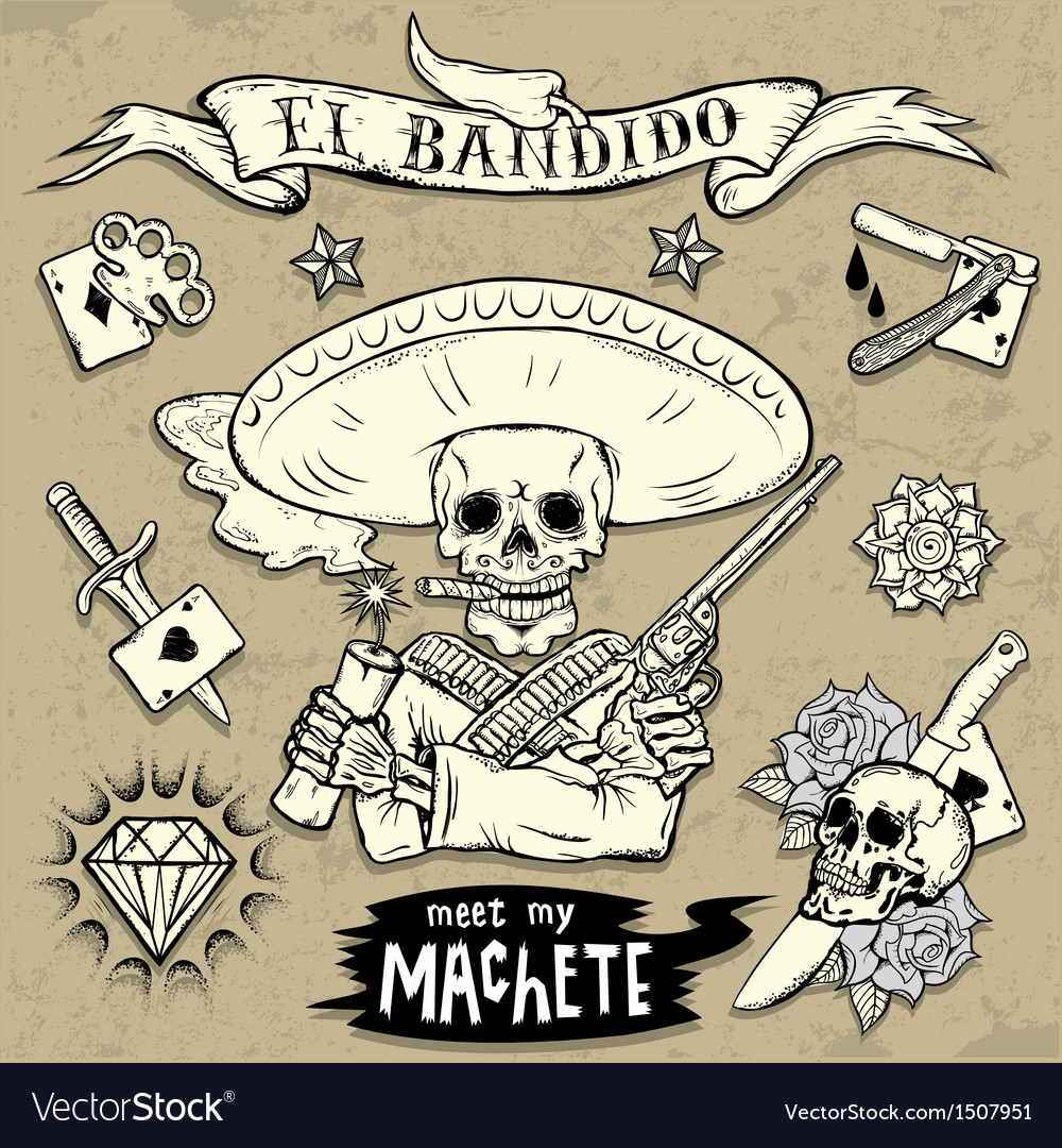 Set of old school tattoo elements vector | Price: 3 Credit (USD $3)