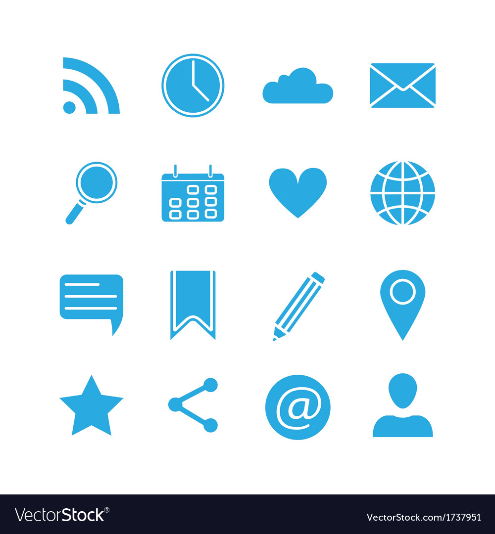 Silhouette social media icons set vector | Price: 1 Credit (USD $1)