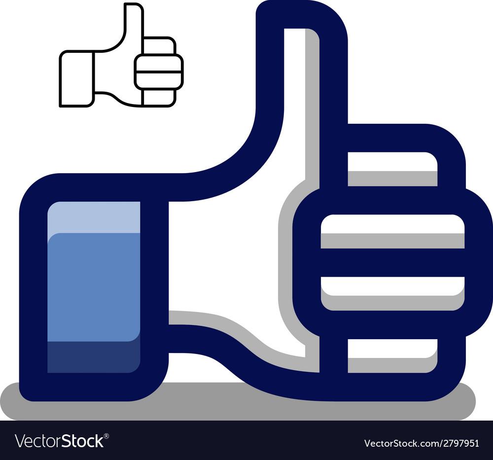 Thumb up blue hand symbol vector | Price: 1 Credit (USD $1)