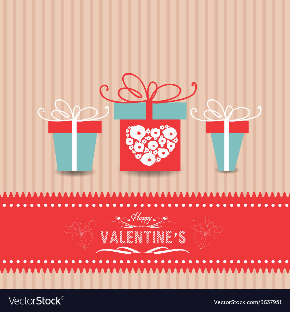 Valentines day card with gifts vector | Price: 1 Credit (USD $1)