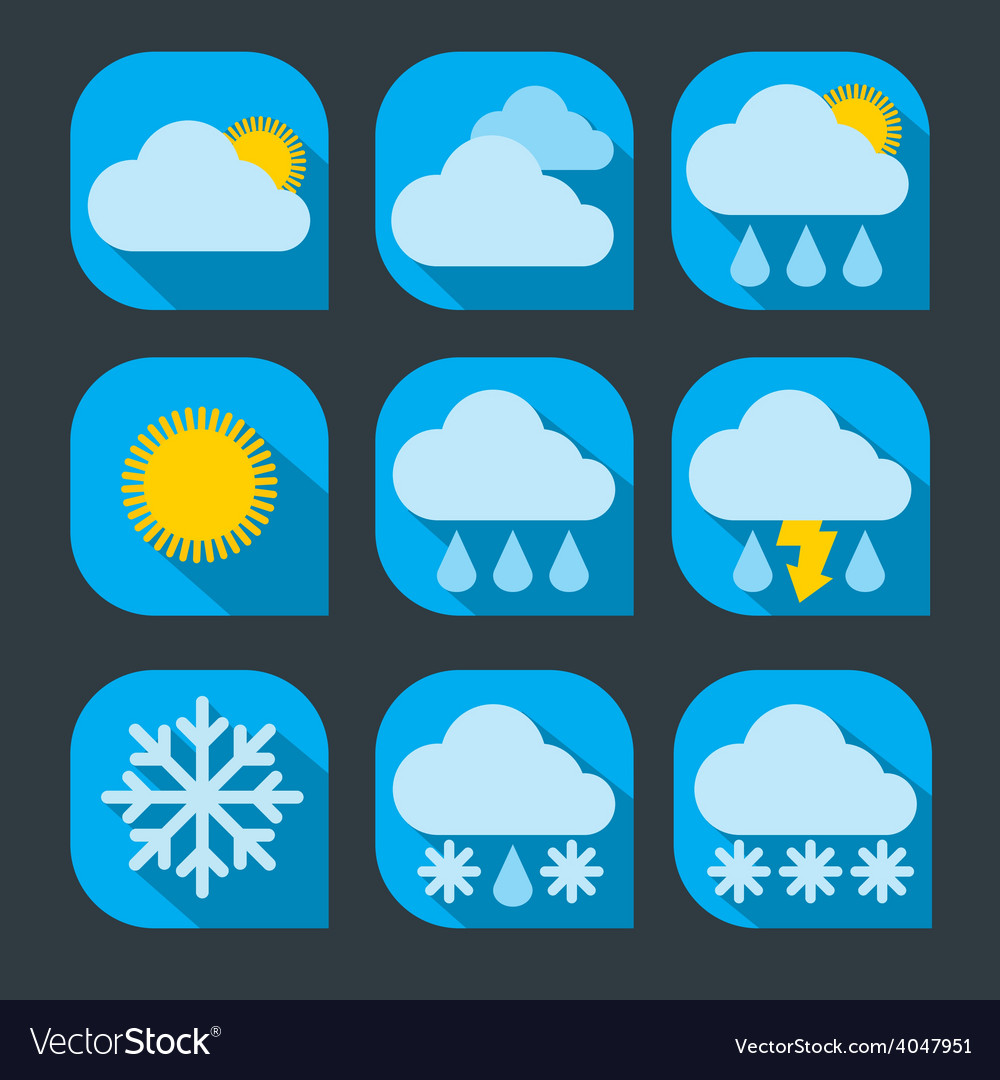 Weather icon set flat vector | Price: 1 Credit (USD $1)