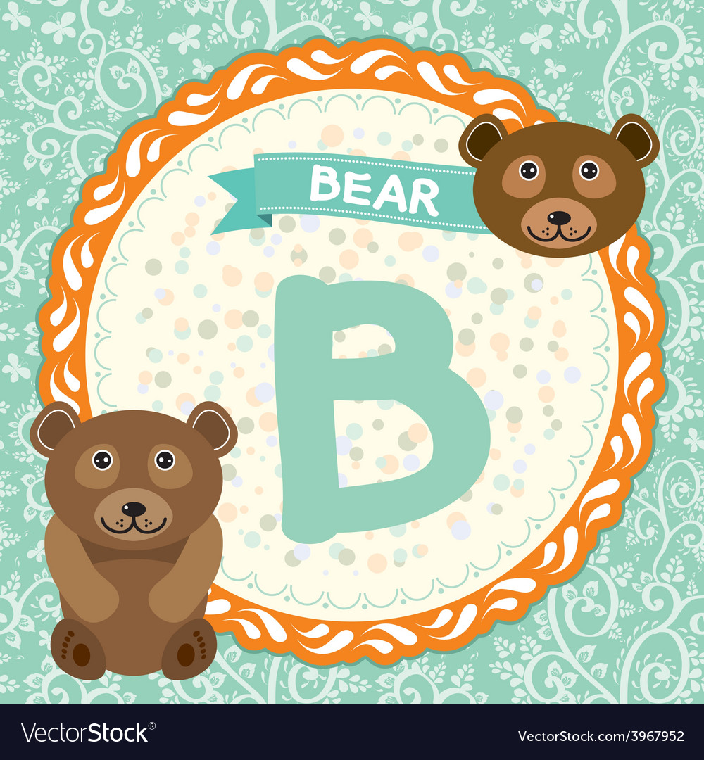 Abc animals b is bear childrens english alphabet vector | Price: 1 Credit (USD $1)