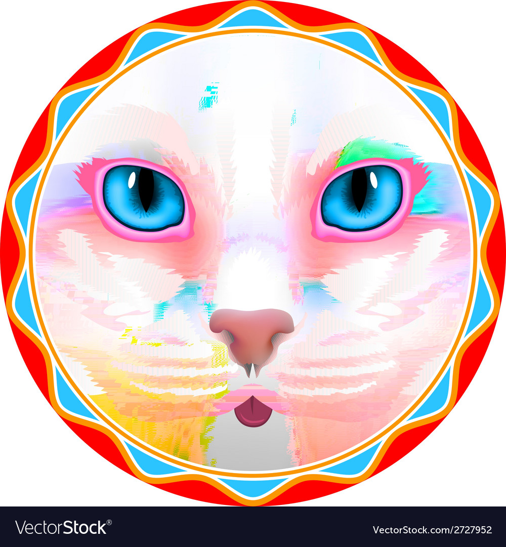 Cat face eyes  animal cute kitten bow hair facial vector | Price: 1 Credit (USD $1)
