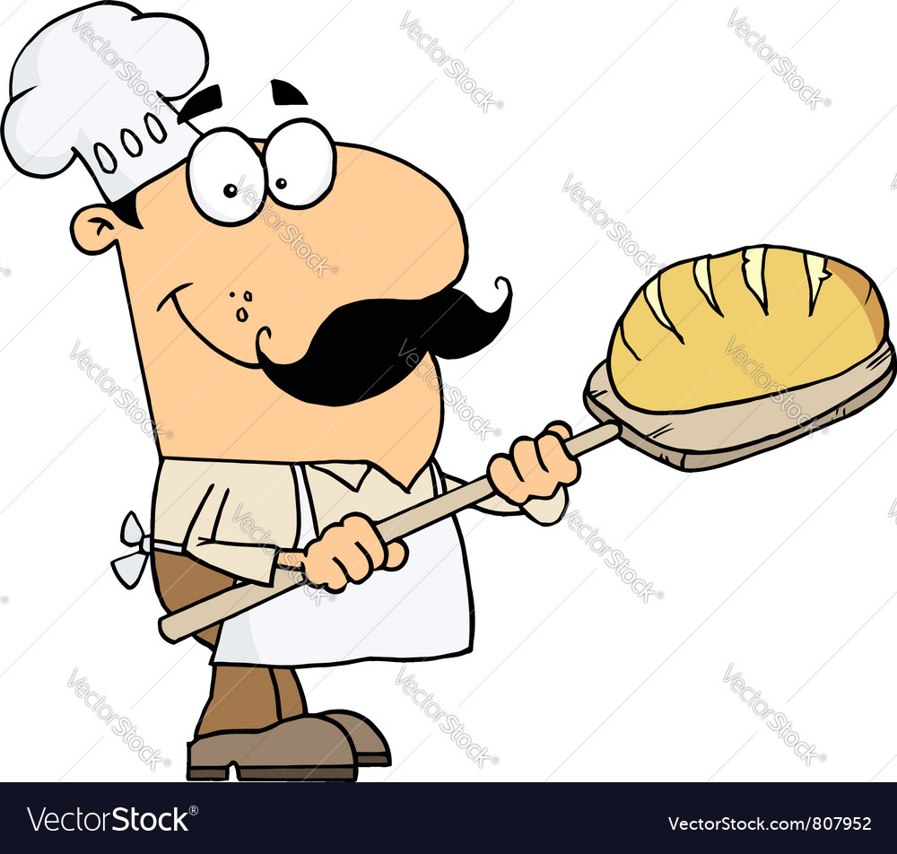 Caucasian cartoon bread baker man vector | Price: 1 Credit (USD $1)