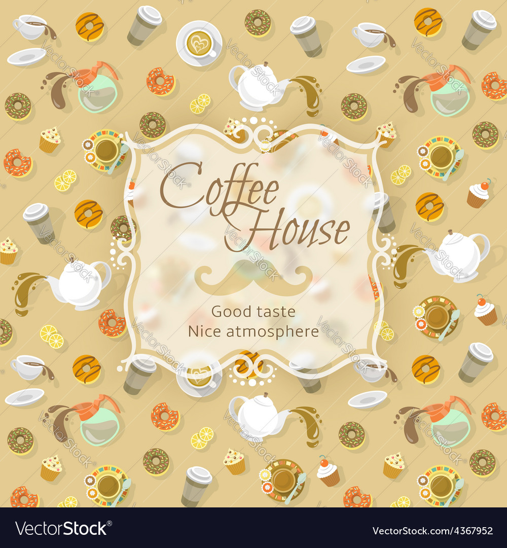 Coffee shop label on food and drink background vector | Price: 1 Credit (USD $1)