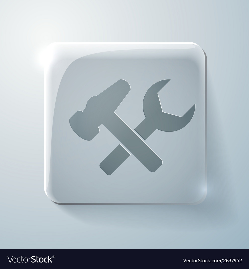 Glass square icon with highlights symbol settings vector | Price: 1 Credit (USD $1)
