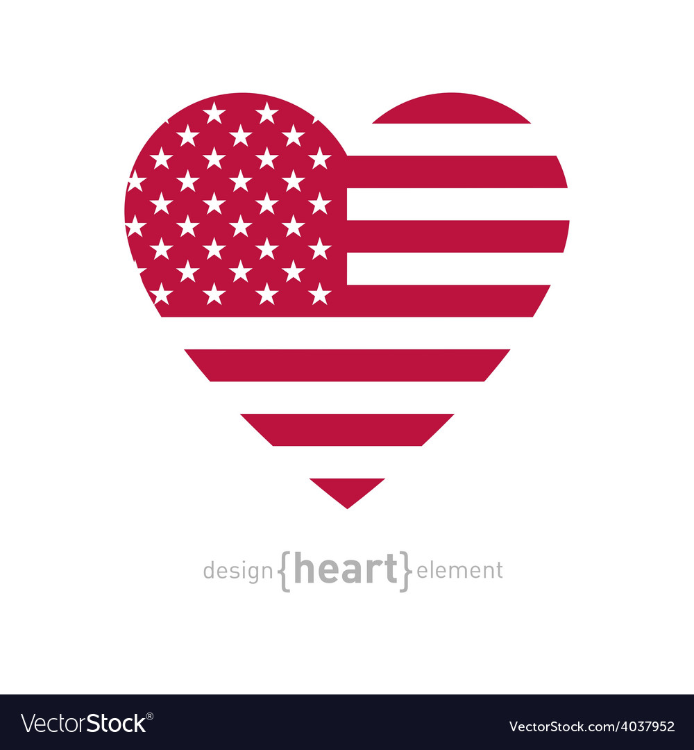 Heart with american flag color and symbols vector | Price: 1 Credit (USD $1)
