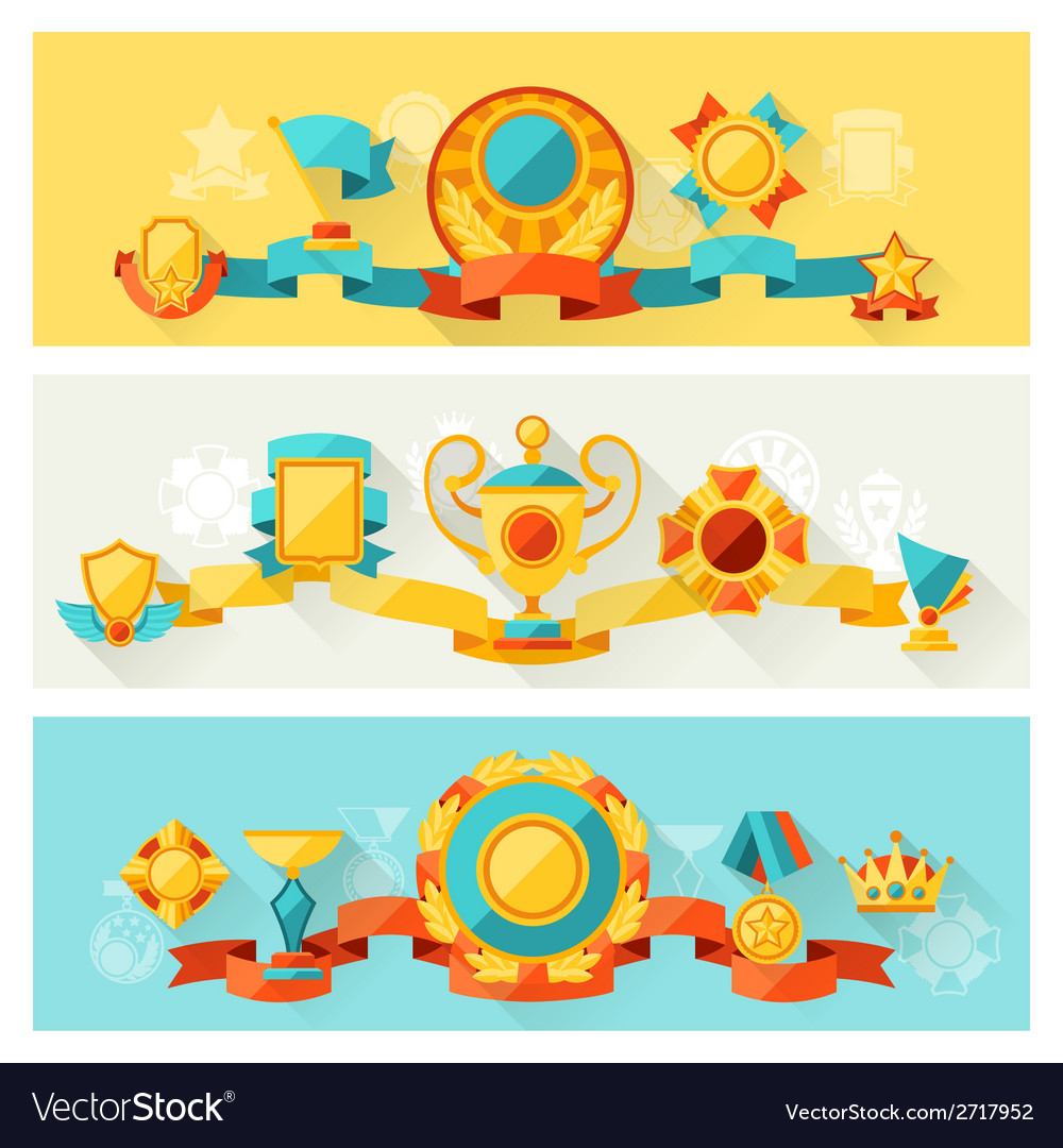 Horizontal banners with trophy and awards in flat vector | Price: 1 Credit (USD $1)
