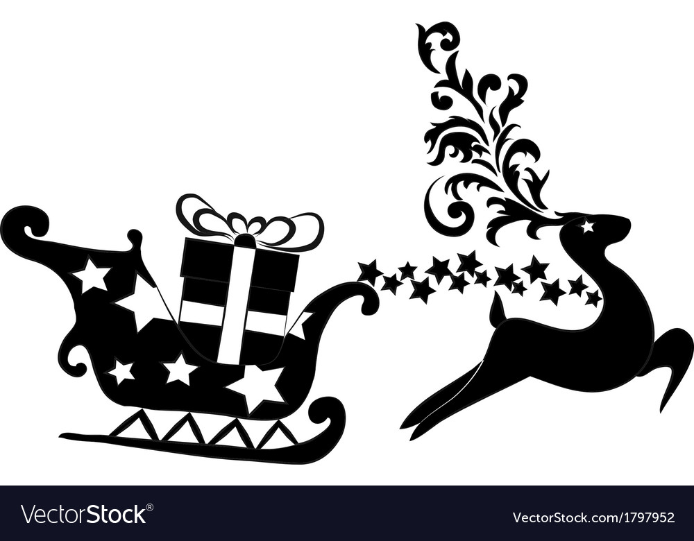 Reindeer and sleigh with presents vector | Price: 1 Credit (USD $1)