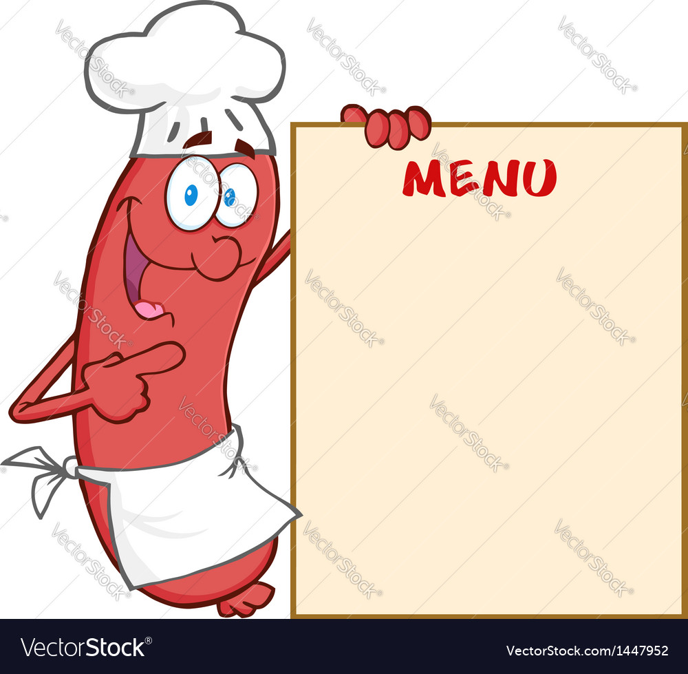 Sausage chef cartoon mascot character showing menu vector | Price: 1 Credit (USD $1)