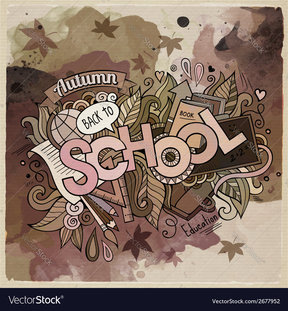 School watercolor cartoon hand lettering and vector | Price: 1 Credit (USD $1)