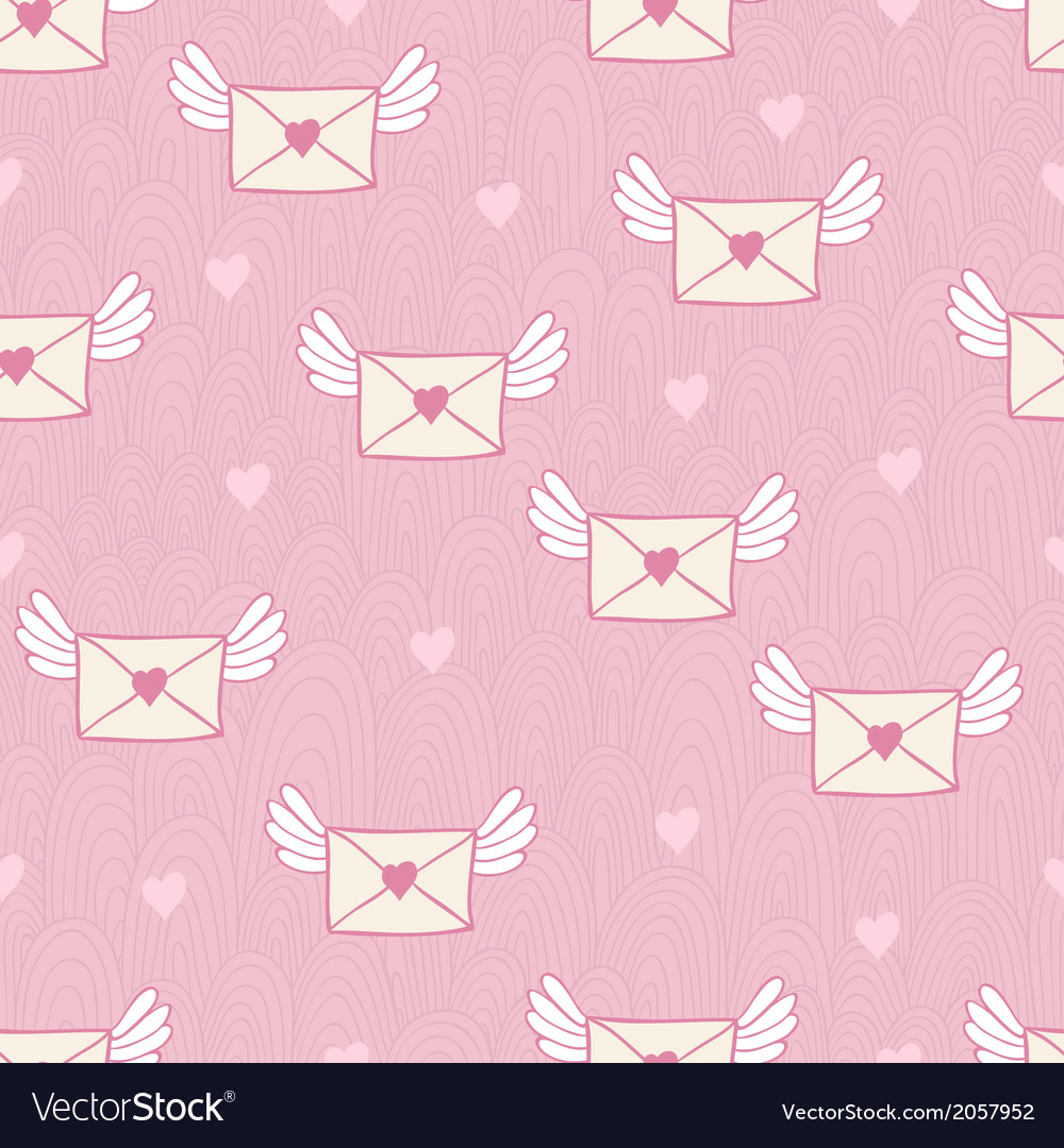 Seamless pattern with post letters love mail vector | Price: 1 Credit (USD $1)