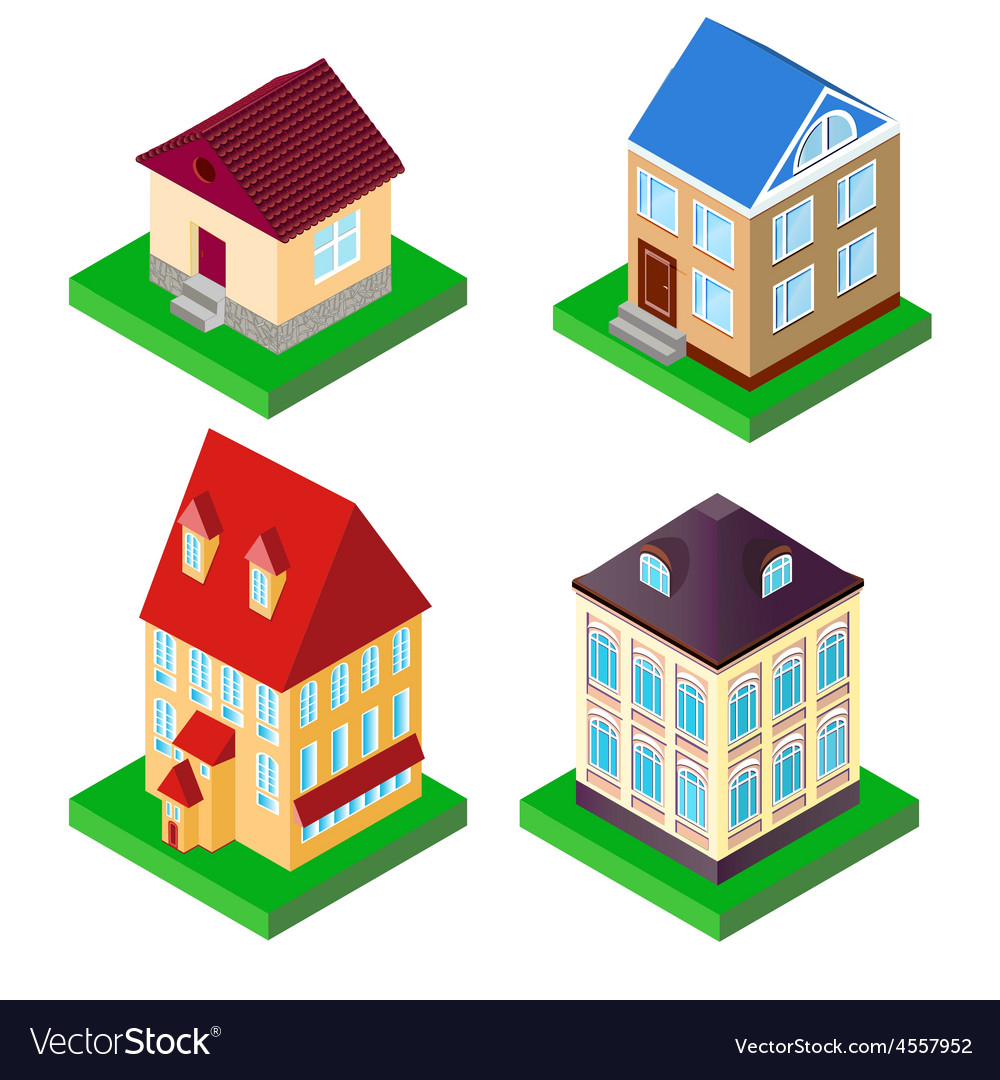 Set of houses in perspective vector | Price: 1 Credit (USD $1)