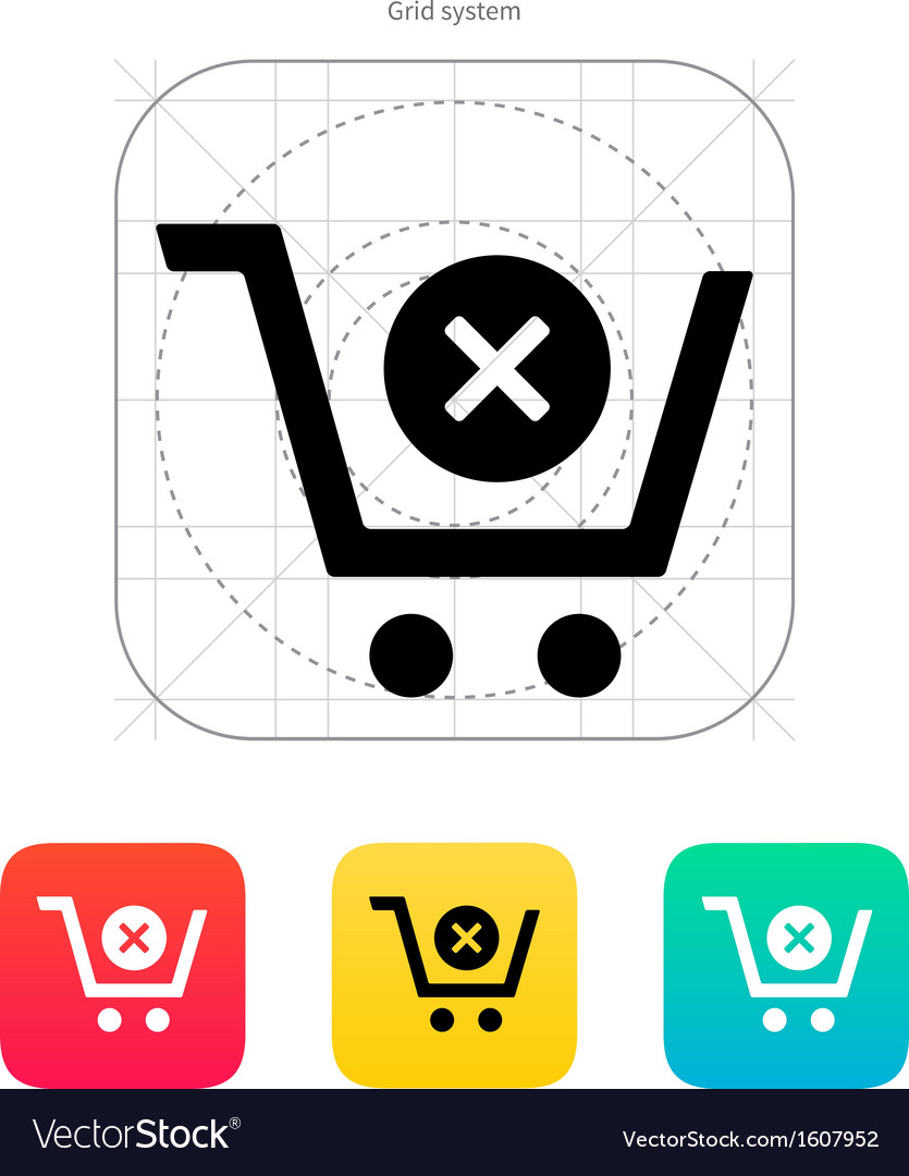 Shopping cart delete icon vector | Price: 1 Credit (USD $1)