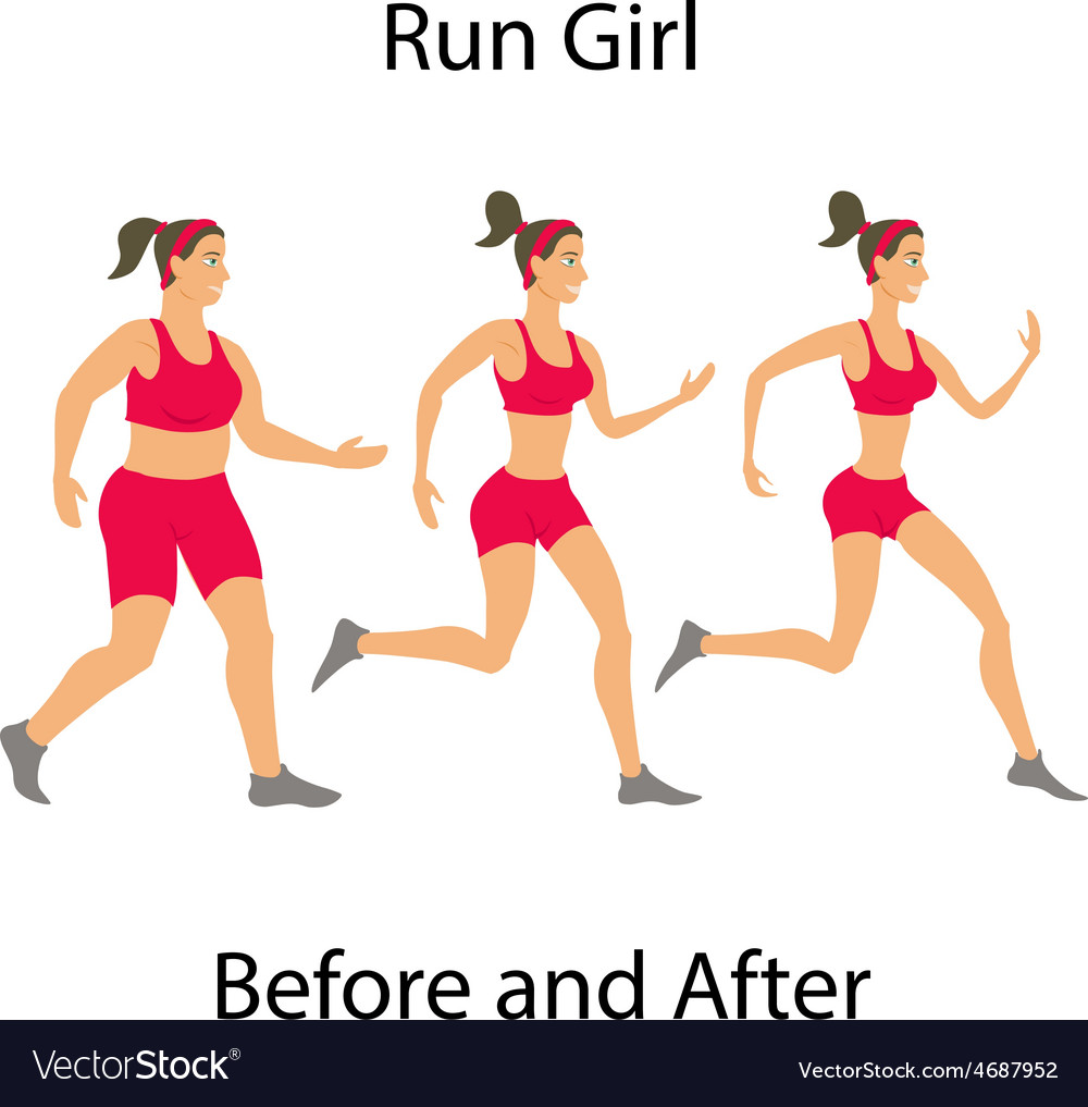 Simple cartoon woman jogging before and after run vector | Price: 1 Credit (USD $1)