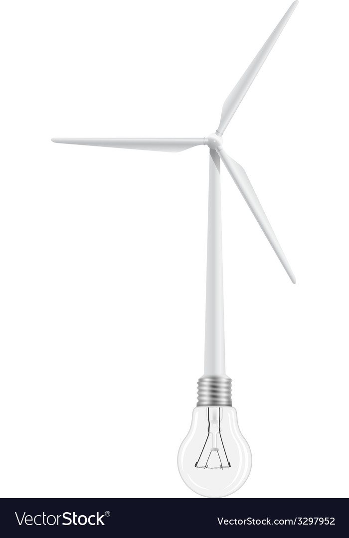 Wind turbine and bulb connected vector | Price: 1 Credit (USD $1)