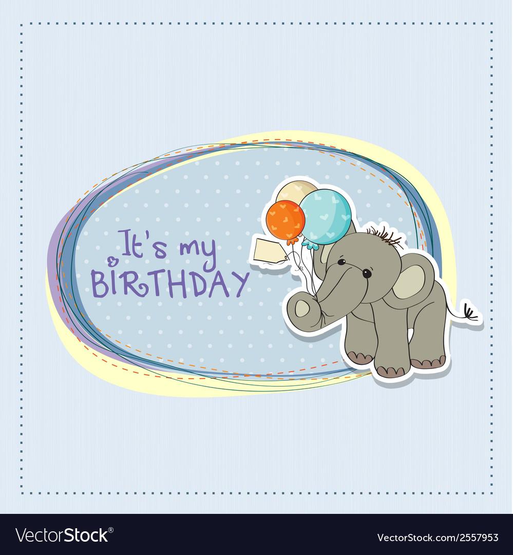 Baby boy birthday card with elephant vector | Price: 1 Credit (USD $1)