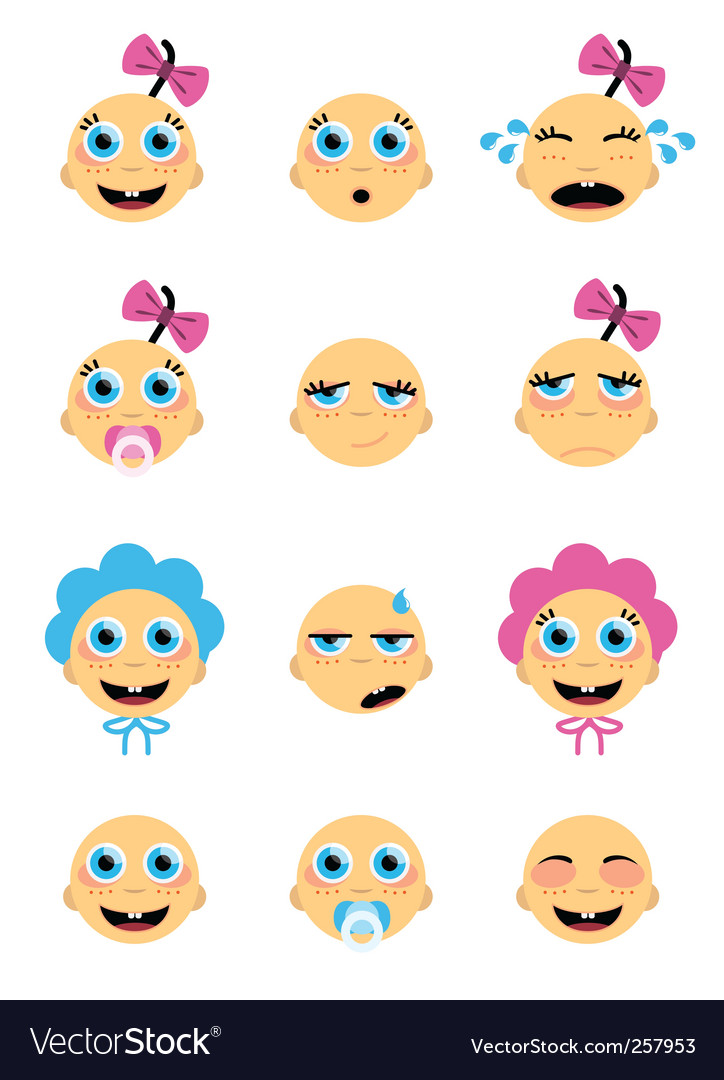 Baby face set vector | Price: 1 Credit (USD $1)