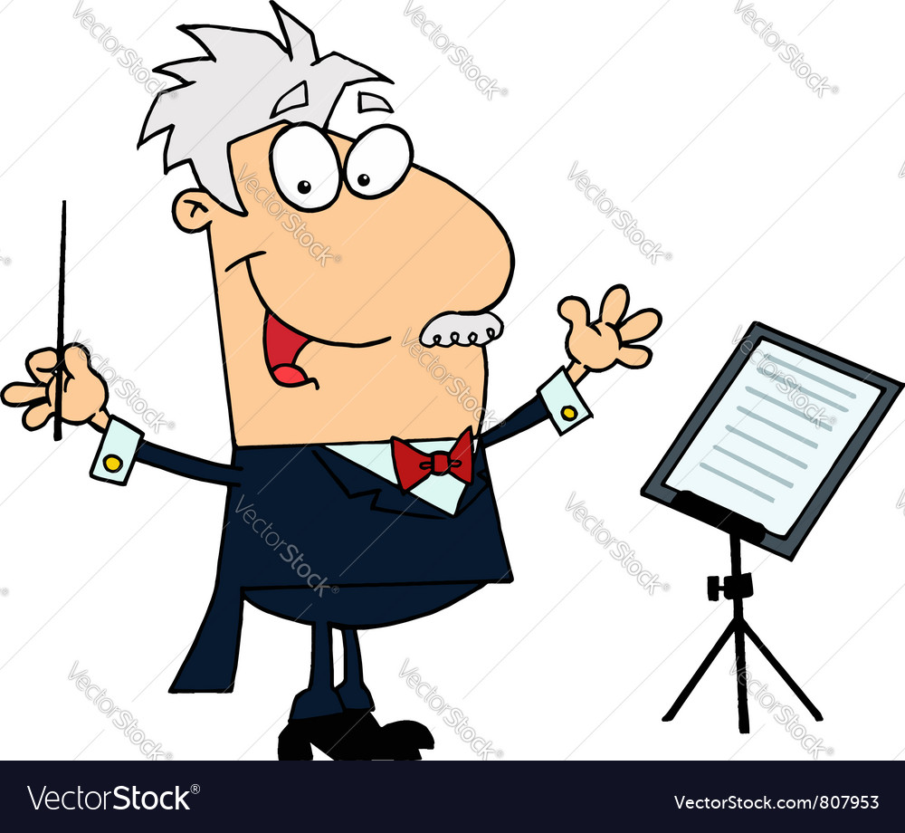Caucasian cartoon music conductor man vector | Price: 1 Credit (USD $1)