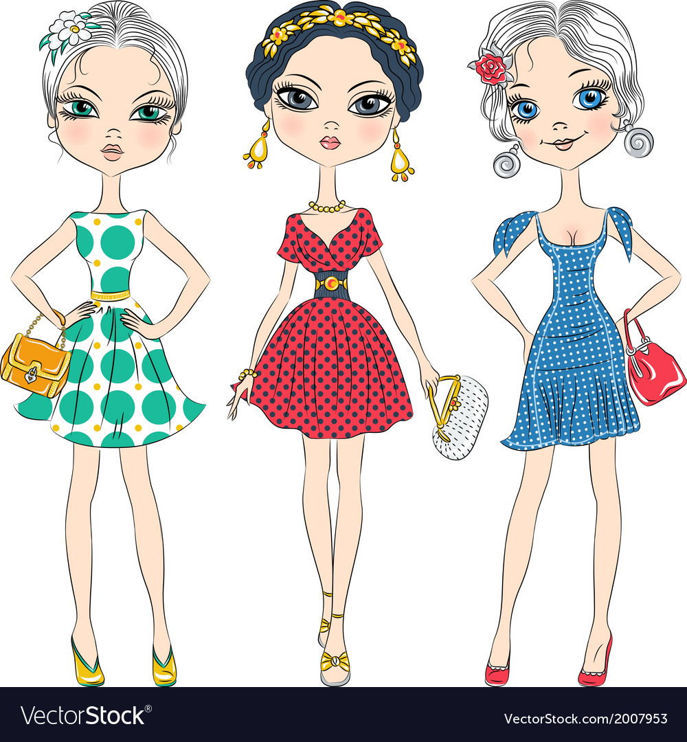 Fashion girls top model in elegant dresses vector | Price: 1 Credit (USD $1)