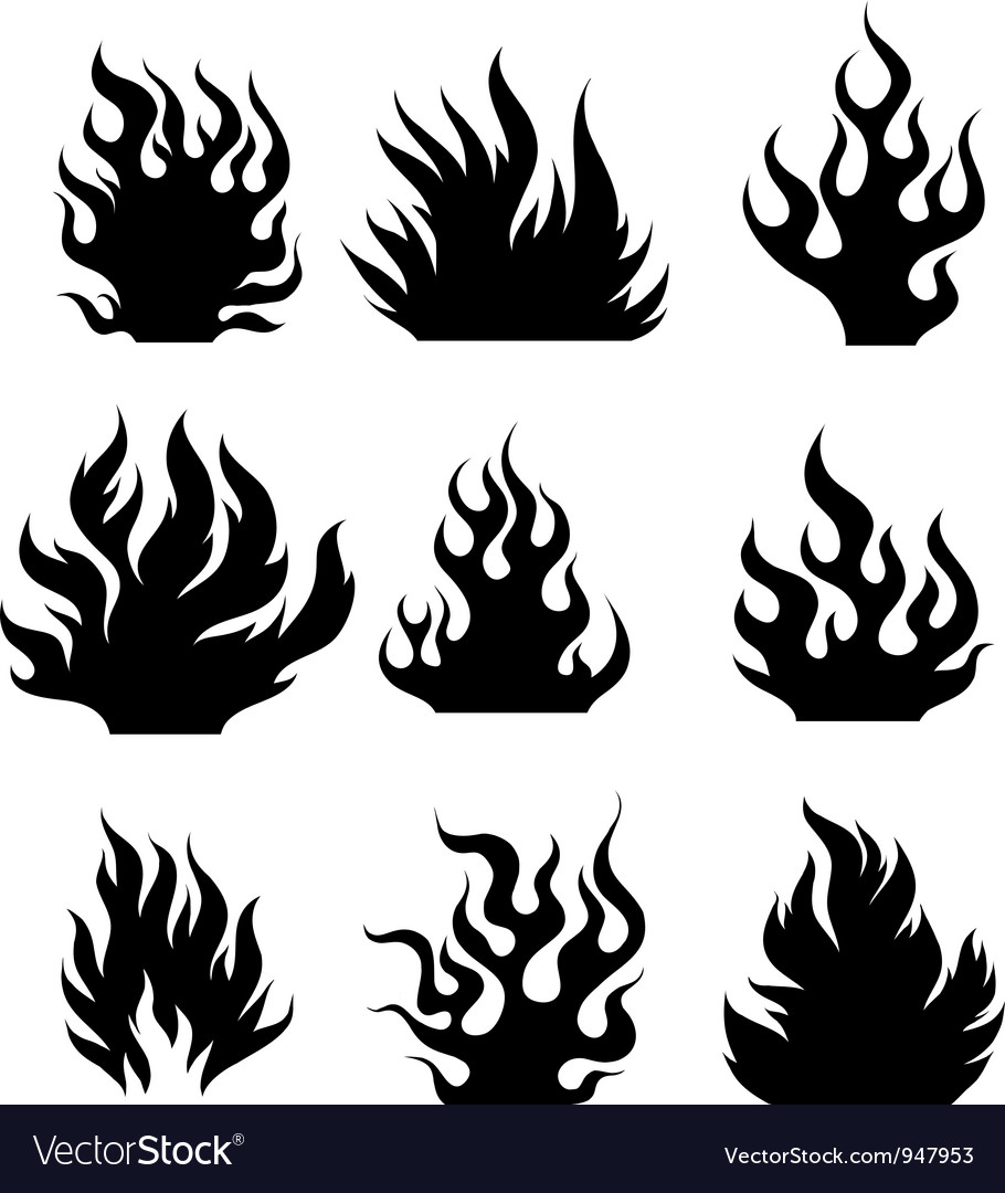 Fire silhouettes vector | Price: 1 Credit (USD $1)