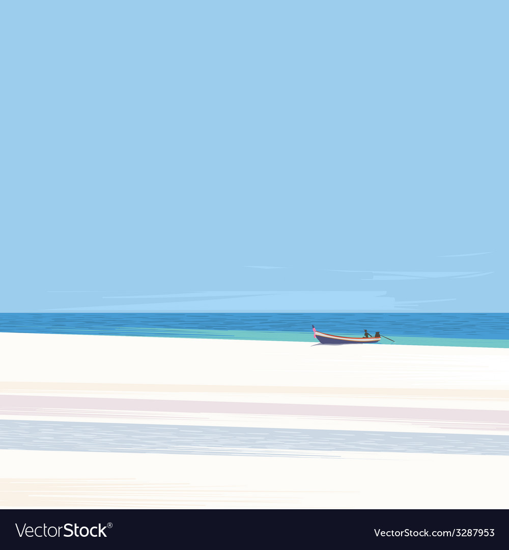 Fishing boat on a beach with white sand vector | Price: 1 Credit (USD $1)