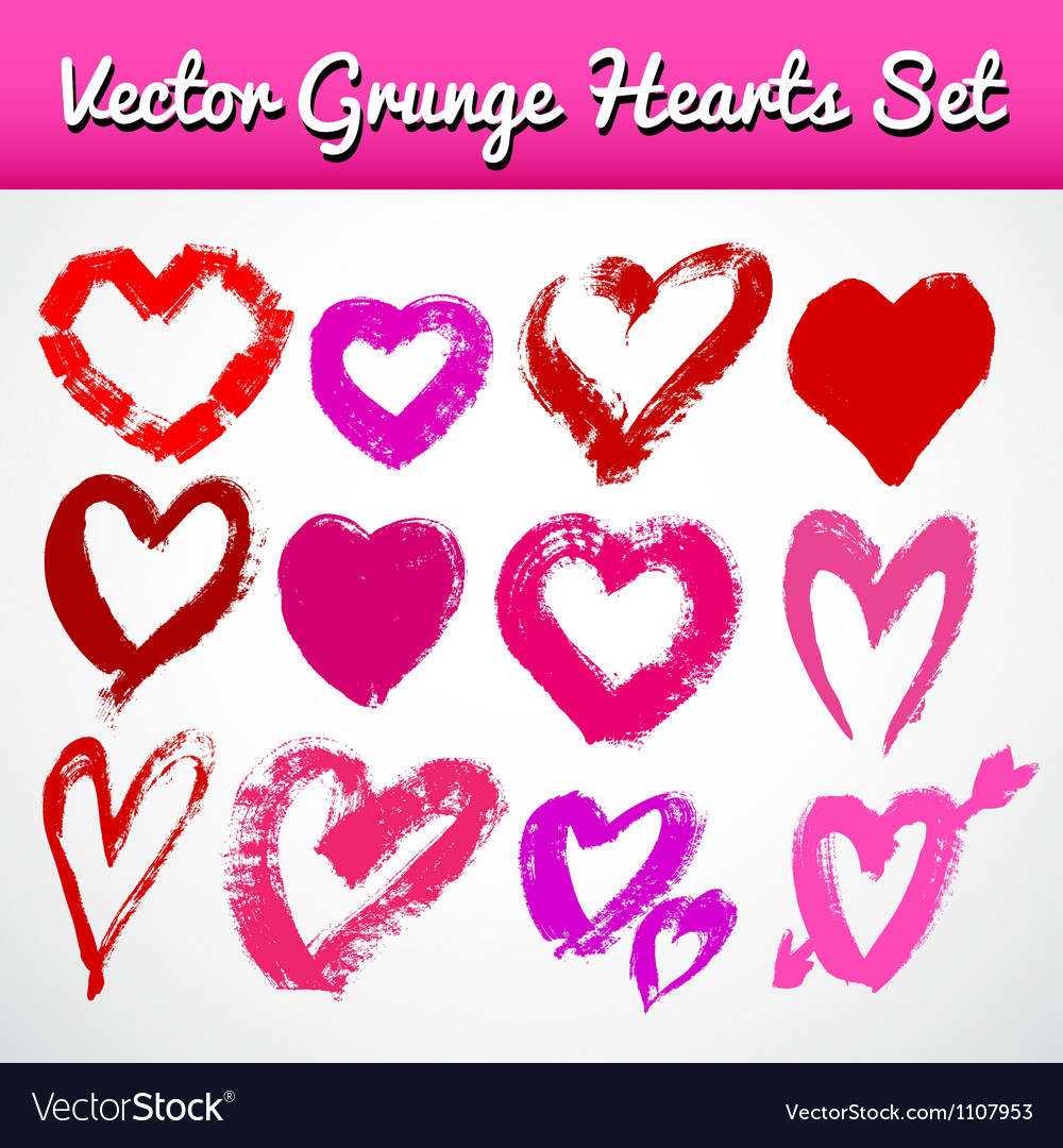 Grunge hearts on white background set vector | Price: 1 Credit (USD $1)
