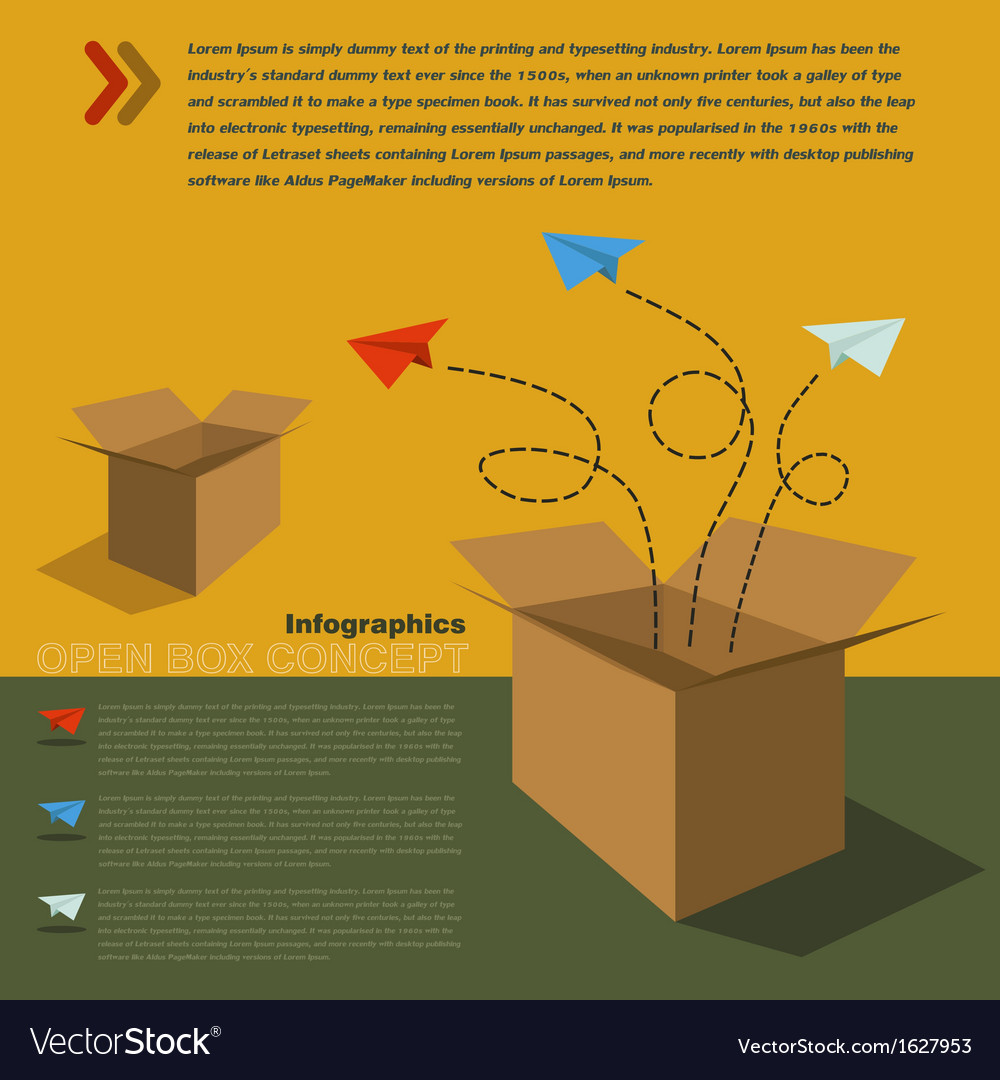 Infographics of open box concept vector | Price: 1 Credit (USD $1)