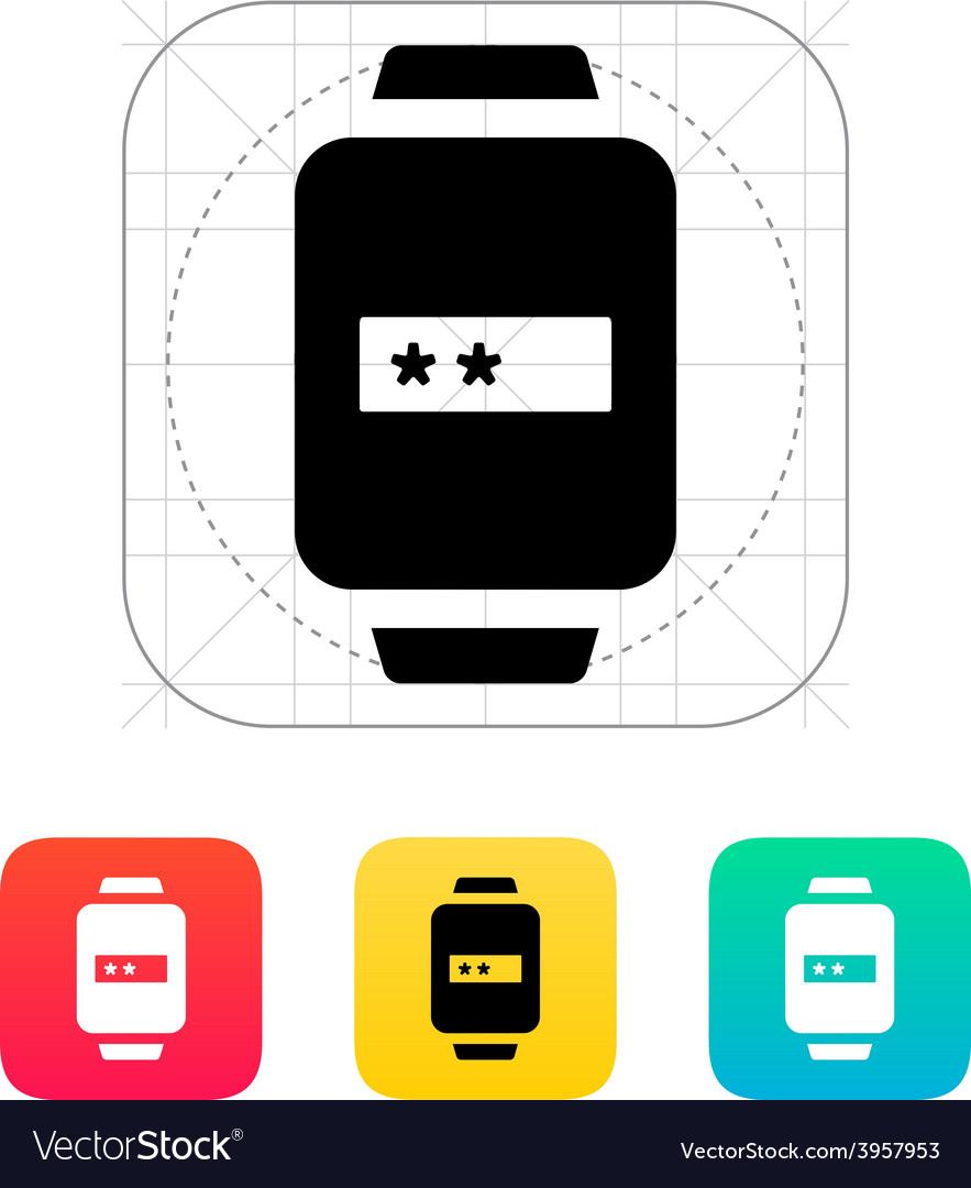 Password in smart watch icon vector | Price: 1 Credit (USD $1)