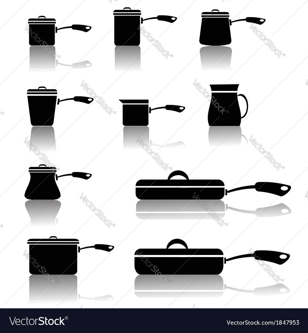 Set of pots and pans vector | Price: 1 Credit (USD $1)