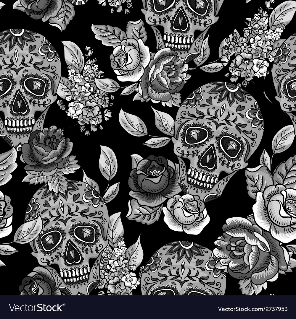 Skull and flowers monochrome seamless background vector | Price: 1 Credit (USD $1)