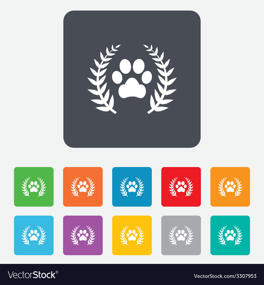 Winner pets laurel wreath sign icon vector | Price: 1 Credit (USD $1)