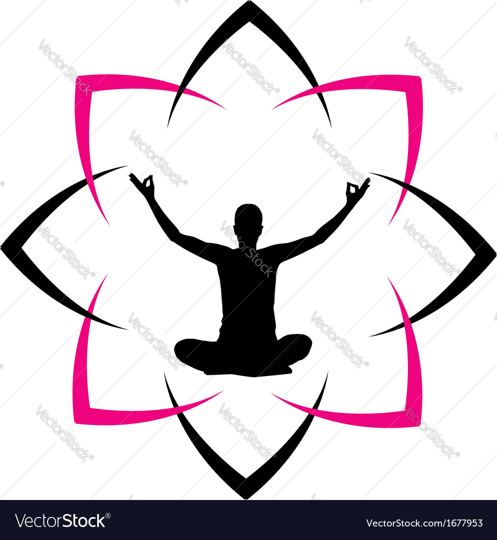 Yoga fitness with abstract lotus vector | Price: 1 Credit (USD $1)