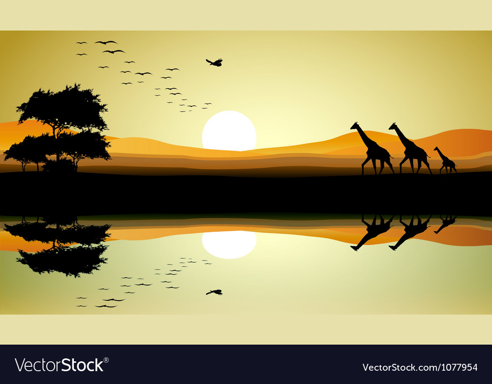 Beauty safari of giraffe silhouette vector | Price: 1 Credit (USD $1)