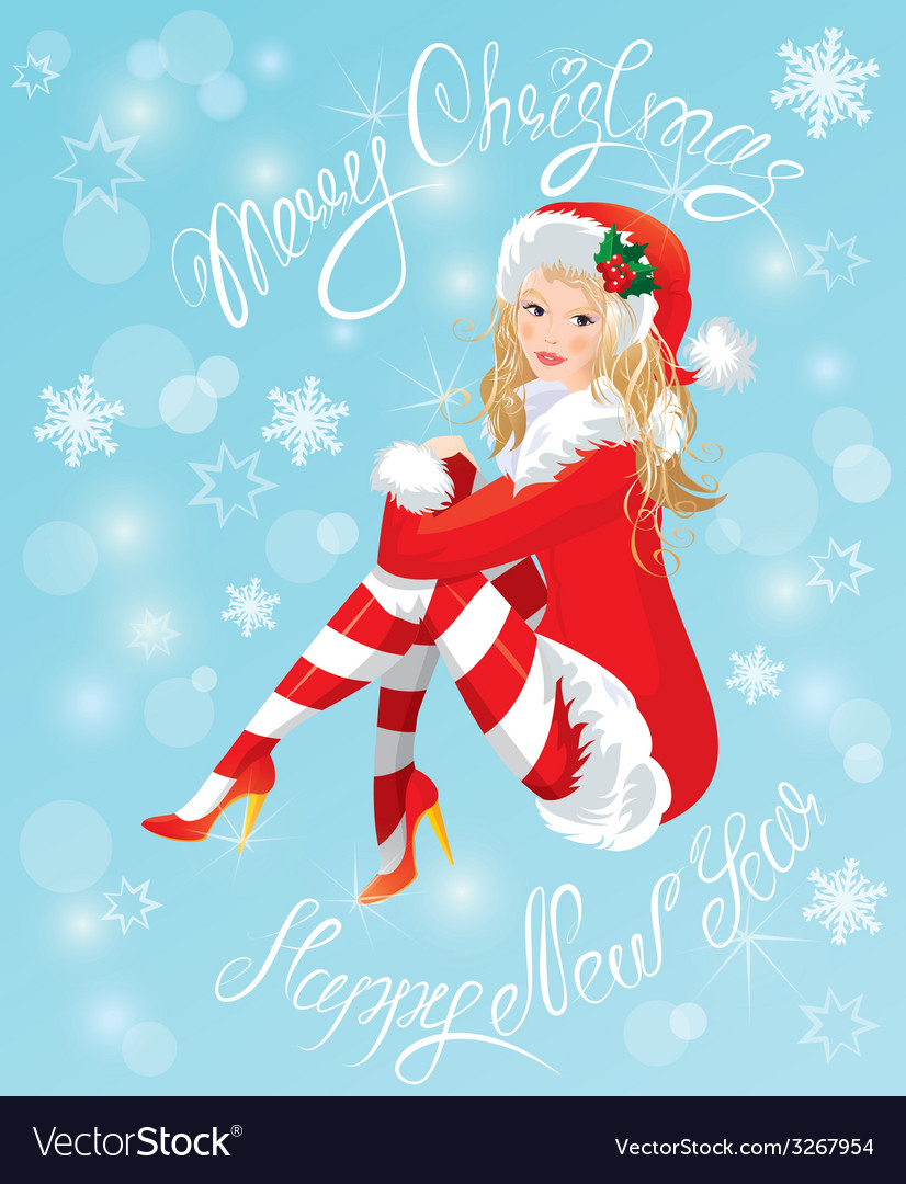 Blond pin up christmas girl wearing santa claus su vector | Price: 1 Credit (USD $1)