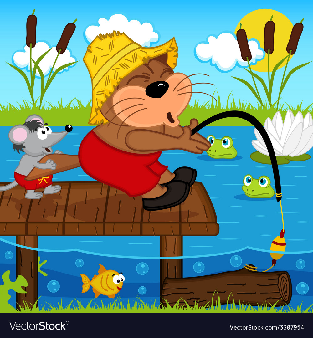Cat mouse fishing vector   Price: 3 Credit (USD $3)