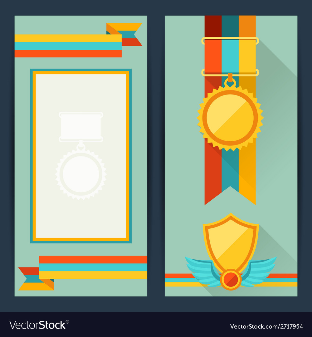 Certificate templates with awards in flat design vector | Price: 1 Credit (USD $1)